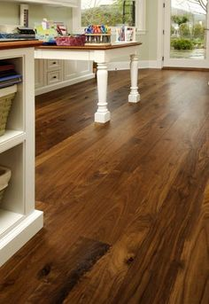 Carlisle Wide Plank Floors is the leading supplier of hand crafted wood flooring including Oak wood flooring and distressed wood floors. Walnut Hardwood Flooring, Hardwood Floor Colors, Refinishing Hardwood Floors, Wide Plank Flooring, Timber Flooring, Kitchen Flooring, Flooring Types, Hickory Flooring, Carlisle