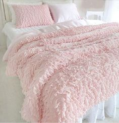 Princess Ruffled 100% Cotton 4 Piece Soft Pink by QueenAndCastle