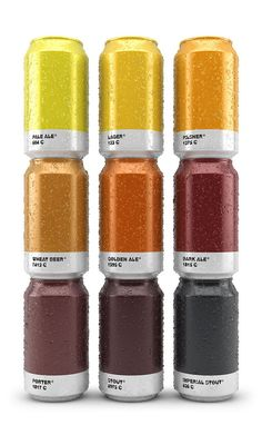 Spanish creative agency Txaber reimagines beer packaging with their series of pantone-inspired brews labeled according to the exact colors of the delicious liquids inside the can.