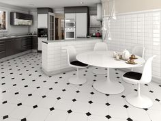 Tile Floor Designs for Kitchens : Choose With Consider The Style That We Applied : Captivating Black And White Ceramic Floor Tile Design Wit. Modern Floor Tiles, Bathroom Floor Tiles, Kitchen Tiles, Kitchen Flooring, Tile Floor, Marble Floor, Wall Tiles, Bathroom Black, Marble City