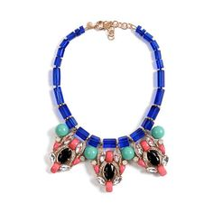 Blue Tube Necklace with Faux Diamante and Beads Pendant ($179) ❤ liked on Polyvore