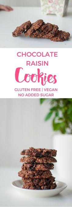Vegan chocolate raisin cookies. Gluten free, no added sugar. Super easy to make, even easier to enjoy!