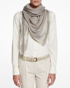 """Loro Piana cashmere-blend scarf with metallic trim. Approx. 47"""" square (120cm). Eyelash fringe edges. Ample size offers many ways to drape, wrap, and knot. Cashmere/silk/viscose. Dry clean. Made in It"""