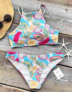 This bikini is stunning! Just $21.99 for hot days & free shipping!  Look the Fruit Salad Print! It is perfect for the beach and a total stand out piece in the coming summer. More new swimsuits at Cupshe.com !