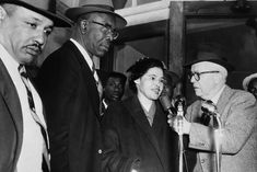 E. D. NIXON AND ROSA PARKS ARRIVING FOR COURT