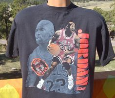 e7e1105734fc vintage 90s t-shirt michael JORDAN chicago bulls basketball champion nba  black tee Large Medium