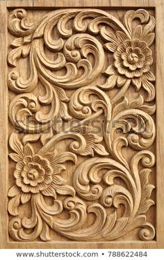 Find Pattern Flower Carved On Wood Background stock images in HD and millions of other royalty-free stock photos, illustrations and vectors in the Shutterstock collection. Thousands of new, high-quality pictures added every day. Main Door Design, Wooden Door Design, Front Door Design, Wooden Doors, Wood Design, Wood Carving Designs, Wood Carving Patterns, Wood Carving Art, Stone Carving