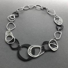 silver filigree and black acrylic necklace #kelseygrape #modernfiligree