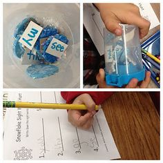 Write sight words on seasonal shapes and put them in a see through container.  Kids turn the container around to read all of the sight words and record them on their paper.