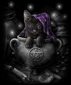 Pagan, Wiccan, Witches and Wizardry and everything in Between. Fantasy Kunst, Fantasy Art, Wicca Kunst, Chat Halloween, Google Halloween, Spooky Halloween, Wiccan Art, Magic Cat, Witch Cat