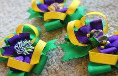 Mardi Gras Hair Bow by sassysistabowtique on Etsy, $10.00