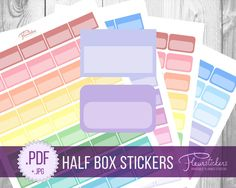 Half Box Printable Planner Stickers Erin Condren planner Stickers Half Box Planner Stickers HALF BOX stickers Half Box planner sticker by FleurStickers on Etsy