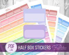 Half Box Printable Planner Stickers Erin Condren planner Stickers Half Box Planner Stickers HALF BOX stickers Half Box planner sticker by FleurStickers on Etsy
