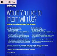 #Repost @internup #career  #KPMG #Undergraduate #Internship #Nigeria #Africa To be elligible all applicants must be:  Below 24 years of age  Possess SSCE/A'level credits or equivalent in Minimum of 5 subjects including Mathematics and English Language in one sitting  Be on the track of First Class or a Second Class Upper grade in any discipline with an official accademic transcripts indicating the most recent cumulative Grade Point Average (CGPA)  Have completed at least the second year of…