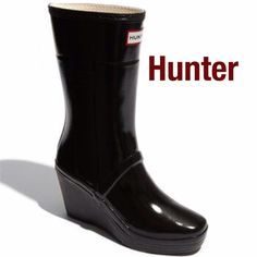 "Hunter 'Kellen' Wedge Rain Boot This unique Hunter Boot with signature logo updated with a chic wedge heel. 3 3/4"" heels, 9 1/4"" boot shaft, 13"" calf circumference. Rubber upper, textile lining, rubber soles. Great condition. Hunter Boots Shoes Winter & Rain Boots"