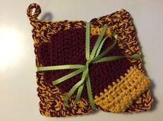 GRYFFINDOR  Trivet and Dishcloth Set 100% Cotton by jabcrochet