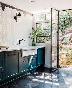 Black Windows in a rustic kitchen.