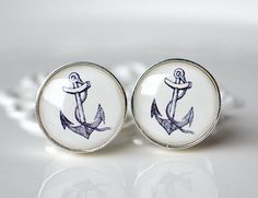 Anchor Cufflinks - Silver round setting - Unique keepsake wedding birthday gift for men  @Kristen Bryda