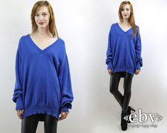 #Vintage #70s Blue Oversized #Knit #Sweater #Jumper, fits up to size XL by #shopEBV http://etsy.me/1kbSdhb @Etsy #fall #fallfashion #etsy #normcore #minimalist