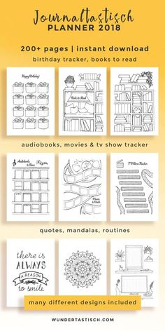 Don't miss out on this over 200 printables strong personal planner It is based on my personal bullet journal and allows you to be creative while increasing your productivity every month. It comes with fun pages like books to read, movies to watch bu Online Bullet Journal, Bullet Journal 2018, Bullet Journal Printables, Bullet Journal Books, Journal Template, Bullet Journal Inspo, Bullet Journal Ideas Pages, Planner Template, Book Journal