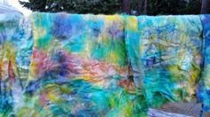 CRAZY Handpainted Art Batt Angora & Silk spin or felt soft fibre Rich Colors by PlumCrazyFiberArt on Etsy