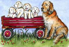 Goldie And Puppies In Wagon on www.addictedtorubberstamps.com