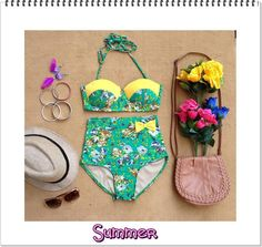 Summer Retro Bow High Waist Swimsuit (Yellow & Light Green Bow Top and Floral Bottom) S, M