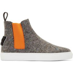 Msgm Grey and Orange Wool High-Top Sneakers ($320) ❤ liked on Polyvore featuring shoes, sneakers, footwear, grey shoes, slip on sneakers, orange high top sneakers, grey high top sneakers and orange shoes