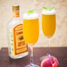Gin Peach Basil Fizz
