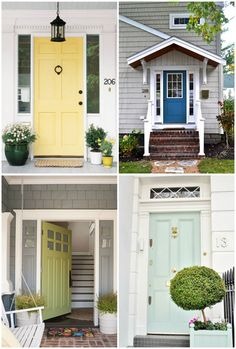 Yellow front door with white trim?  I think yes!  June Monthly Challenge: The Great Outdoors!