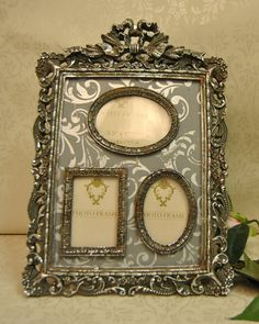 Vintage Style Antique Silver Ornate Collage Picture Photo Frame with Bow Detail: Amazon.co.uk: Kitchen & Home