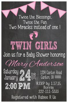 The perfect way to start your party with this Chevron Twin Girls baby shower invitation ! This listing is for a DIGITAL FILE in jpeg format. The
