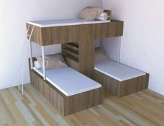 Triple Bunk Bed Ideas for Tiny Houses #bedroomideas