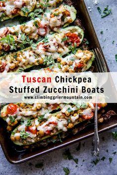 Tuscan Chickpea Stuffed Zucchini Boats - Climbing Grier Mountain