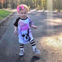 Rockabilly Girl Skull Baby Leggings Punk Rock Alternative Alternatots 0-3 years