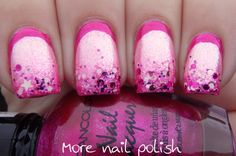 Metallic pink ruffian with glitter tips