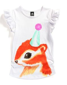 Party Squirrel Tee by Littlehorn. Perfect festive outfit paired with patterned pants, little jeans (extra points if they're a fun color) or (eep!) a tutu and stripy tights! Little Fashion, Tee Online, Pants Pattern, Festival Outfits, Squirrel, Style Guides, Children, Tees, Party