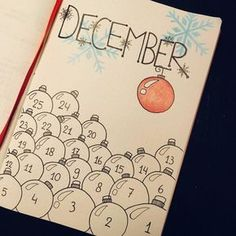 """61 Likes, 2 Comments - Maud (@maudbbb) on Instagram: """"The first december page in my bullet journal, the countdown to Christmas! . . . #bulletjournal…"""""""