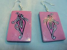 Celtic Knot Work Dragon Polymer Clay Earrings   Wyverndesigns - Jewelry on ArtFire
