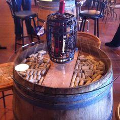 Wine barrel table for basement bar area...