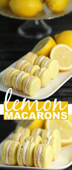 This Lemon Macaron Recipe is a masterpiece - and with it you too can make French Meringues worthy of any bakery! I'm sharing all the tips and tricks you need to make gorgeous lemon cookies successfull (Baking Desserts Healthy) Lemon Recipes, Lemon Desserts, Just Desserts, Sweet Recipes, Baking Recipes, Cookie Recipes, Dessert Recipes, Healthy Recipes, Healthy Cake