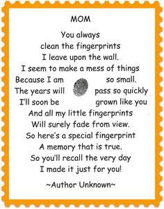 Homemade Mother's Day Ideas: 15 Poems and Quotes Gifts Kids Crafts, Preschool Crafts, Preschool Poems, Toddler Crafts, Mother And Father, Mother Day Gifts, Pomes, Fathers Day Crafts, Mom Day
