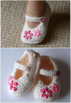 Girl's Shoes – Lazy Daisy Free Crochet Pattern - Baby crochet - Shoes Crochet Baby Sandals, Crochet Baby Boots, Booties Crochet, Baby Girl Crochet, Crochet Shoes, Crochet Daisy, Slippers Crochet, Knit Baby Booties, Kids Crochet