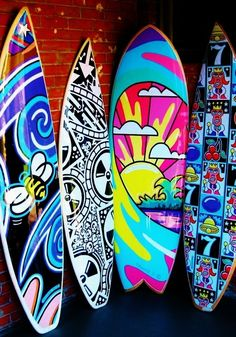 Discovered by Stefania Dotti. Find images and videos about art, color and surf on We Heart It - the app to get lost in what you love. Surfboard Skateboard, Surfboard Painting, Skateboard Design, Deco Surf, Posca Art, Arte Pop, Surf Style, Surfs Up, Art Plastique