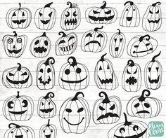 Halloween Pumpkin Clipart - Hand Drawn Halloween Clip art - Jack-O lantern clipart - Halloween invitation - Party - Spooky - Creepy - Halloween Clipart, Halloween Invitations, Lantern Tattoo, Halloween This Year, Pumpkin Jack, Hand Illustration, Hallows Eve, Halloween Pumpkins, Wood Burning