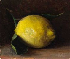Citron de Nice | oil on gessoed card. Via Postcard from Provence, a diary in daily paintings by British artist Julian Merrow-Smith, following the changing seasons of his adopted home in the Vaucluse, in the South of France. His still life paintings are inspired by objets trouvés, pottery and seasonal produce from the local markets whilst many of his landscape paintings picture scenes within walking distance of his studio, 2010.