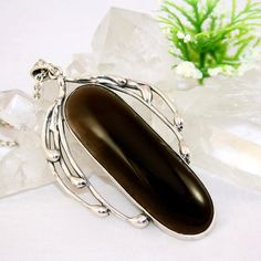 Quartz Pendant Sterling Silver Smoky Quartz by Izovella on Etsy