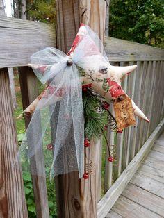 FoLk Art PrimiTive ChrisTmas Holiday SnOwMan STAR Door GreeTer Hanger DecoraTion #PrimitiveLookFOLkArt #MelissaHarmon