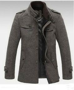 Men's Standing Collar Coats Wool Blazer Jackets Warm Fleece Outerwear Gray Brown