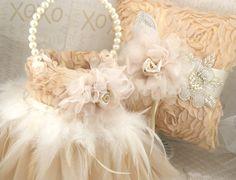 Flower Girl Basket Wedding Tutu Champagne Tan Ivory by SolBijou